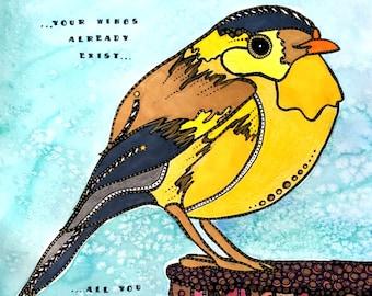Chickadee Painting - Bird Art - Birds - Chickadee - Watercolor Painting - Yellow Bird - Inspirational Art - Chickadee Print - Bird Artwork