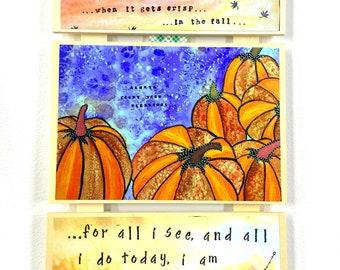 Fall Decor Art - Fall Decoration - Fall Leaves Painting - Pumpkin Decor - Thanksgiving Gift - Hostess Gift - Fall Wall Art