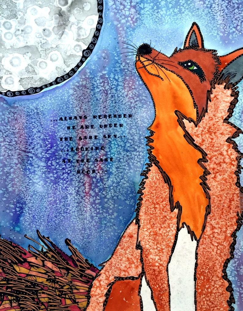 Fox Painting - Fox Lover - Fox - Unity - Moon Art - Foxes - Fox Watercolor  - Animal Art - Fox Print - Fox Artwork - Watercolor - Whimsical