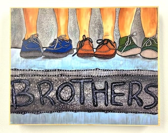 Brother Painting - Brother Art - Brother Plaque - Boy Decor - Siblings Decor - boy Art - Little Bog Art - Whimsical Artwork  - Whimsical