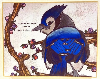 Bluejay Art - Inspirational Artwork - Bluejay Painting - Bird Artwork - Whimsical Decor - Bird Art - Inspirational - Bird Watercolor - Birds