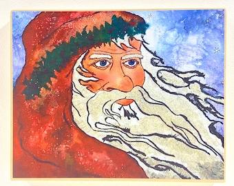 Santa Art - Inspirational Artwork - Santa Painting - Old World Santa Artwork - Santa Claus - Christmas Decoration - Santa Claus Collector