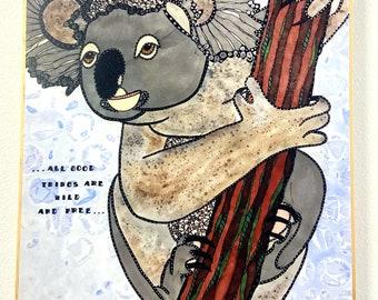 Koala Painting - Koala Art - Koala Plaque - Koala Lover - Animal Art - Koala Bear Art - Whimsical Artwork  - Whimsical Animals