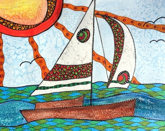 Sailboat Illustration - Sailboat Art - Sailboat - Sailboat Poster - Sailboat Print - Sailboat Wall Art - Cottage Art