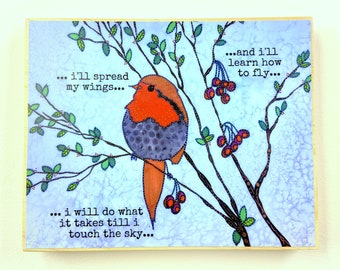 Bird Painting - Bird Art - Bird Plaque - Bird Decor - Fly Decor - Birds in a tree Art - Whimsical Artwork  - Whimsical Animals