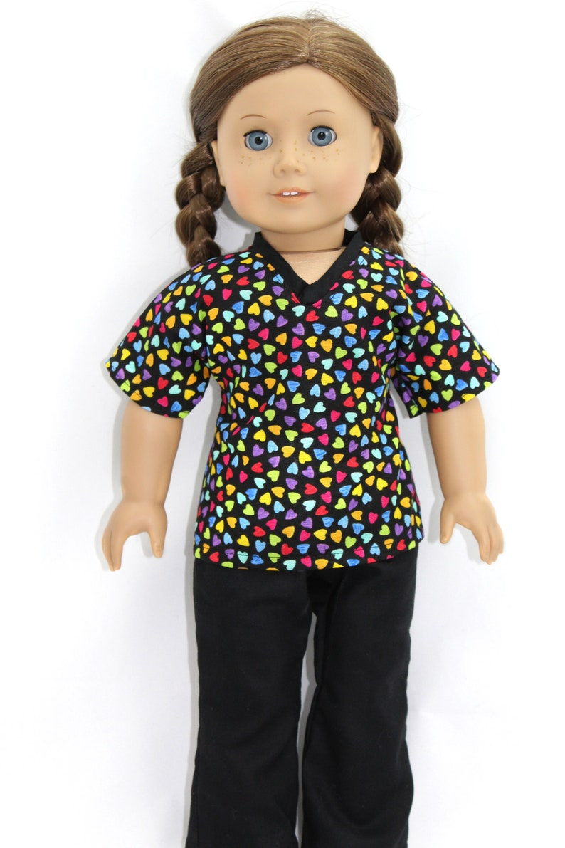 Multi-color Heart Scrubs for American Girl and similar dolls image 0
