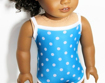 """Big Blue Sea Polka Dot Swimsuit for 18"""" Dolls Such as American Girl"""
