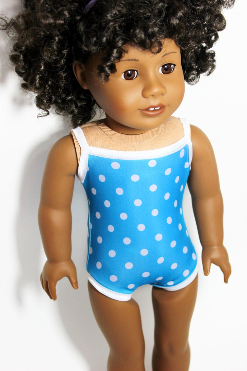 Big Blue Sea Polka Dot Swimsuit for 18 Dolls Such as image 0