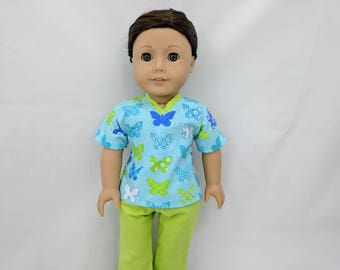 Butterfly Scrubs for 18 inch dolls such as American Girl