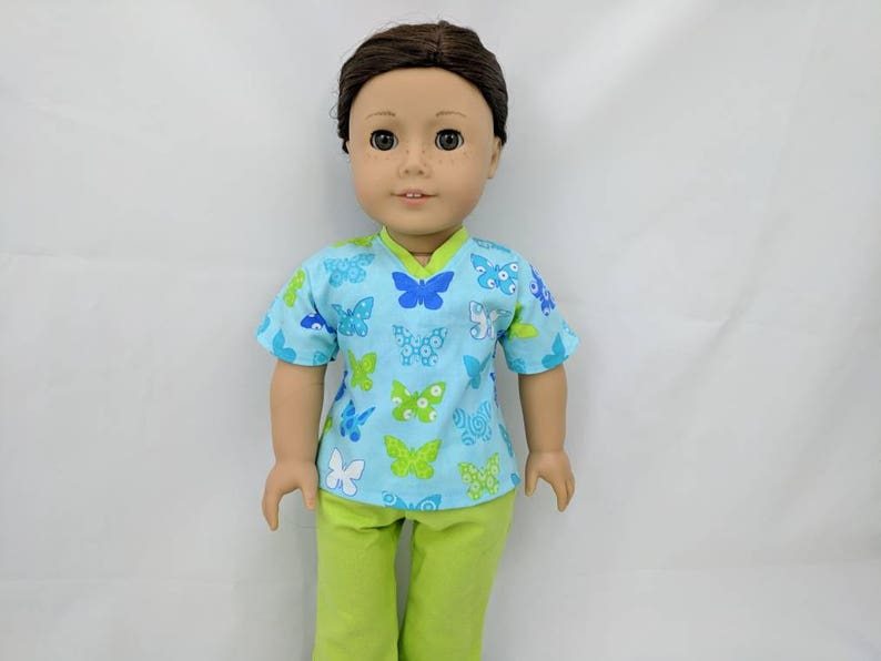 Butterfly Scrubs for 18 inch dolls such as American Girl image 0