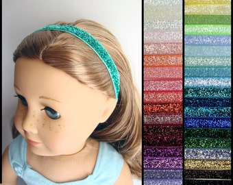 """Glitter Headband for 18"""" dolls such as American Girl - Choose Your Color"""