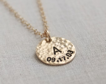 Birth Date Necklace, New Mom Gift, Personalized Initial, Gold Filled, Hammered