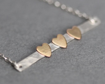 2, 3, 4, 5 Heart Necklace, Sister Necklace, Sister Gift for Mom, Wife, Mothers Day Gift, Skinny Bar Family Necklace, Gift for Her