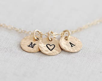 Tiny Initial Necklace, Gold Letter Necklace, Tiny Gold Initial Necklace, Gold Filled Personalized Disc Necklace, Hammered/Smooth