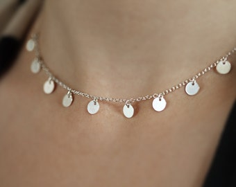 Multi Disc Necklace, Dainty Choker Chain Necklace, Layering Tiny Dots, Sterling Silver Choose 5-9 Discs, Gift for Her