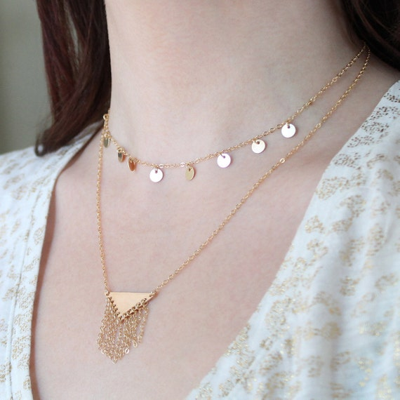 Simple Gold Filled Choker Dainty Choker Necklace Delicate Gold Choker Tiny Dot Charms Multi Disc Necklace Dainty Chain