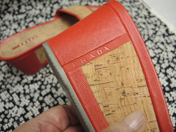 Prada Cork Sandals, Red Platform Shoes, Women's S… - image 9