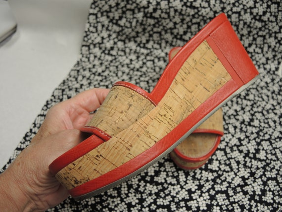 Prada Cork Sandals, Red Platform Shoes, Women's S… - image 6