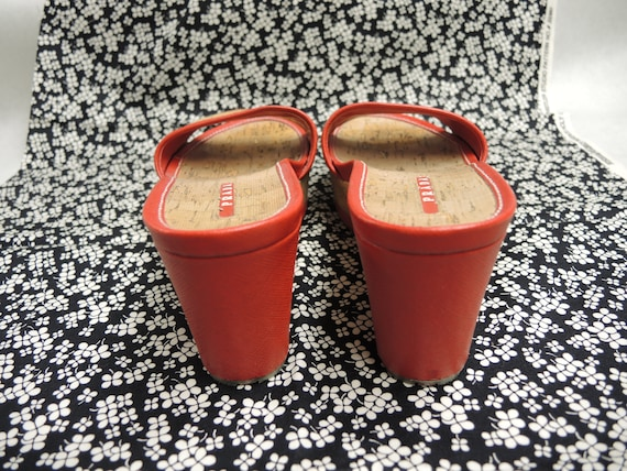 Prada Cork Sandals, Red Platform Shoes, Women's S… - image 2