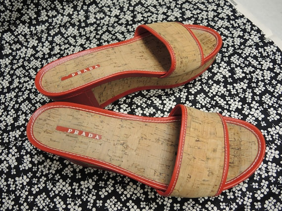 Prada Cork Sandals, Red Platform Shoes, Women's S… - image 8