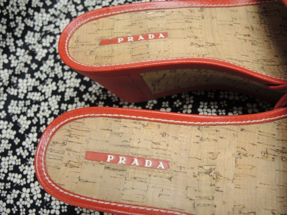 Prada Cork Sandals, Red Platform Shoes, Women's S… - image 3