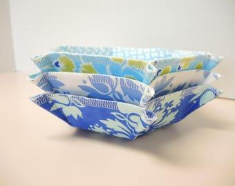 Container Baskets Set of 3,  Blue Fabric Baskets, Storage & Organization