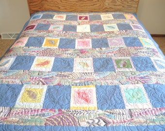 Queen Size Quilt, Embroidered Feathers Quilt, Home Decor