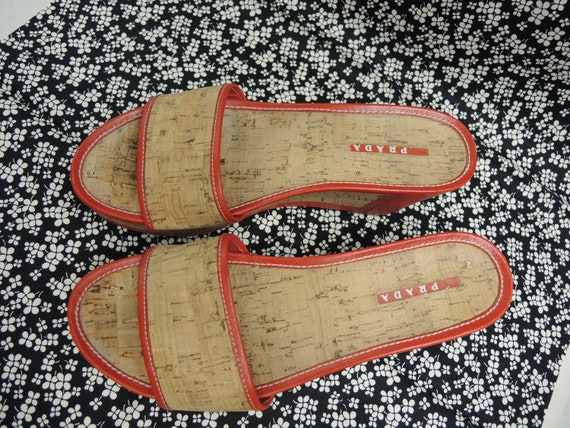 Prada Cork Sandals, Red Platform Shoes, Women's S… - image 10