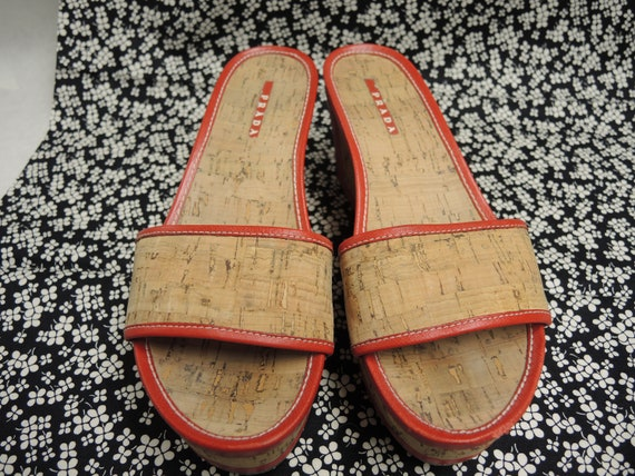 Prada Cork Sandals, Red Platform Shoes, Women's S… - image 7