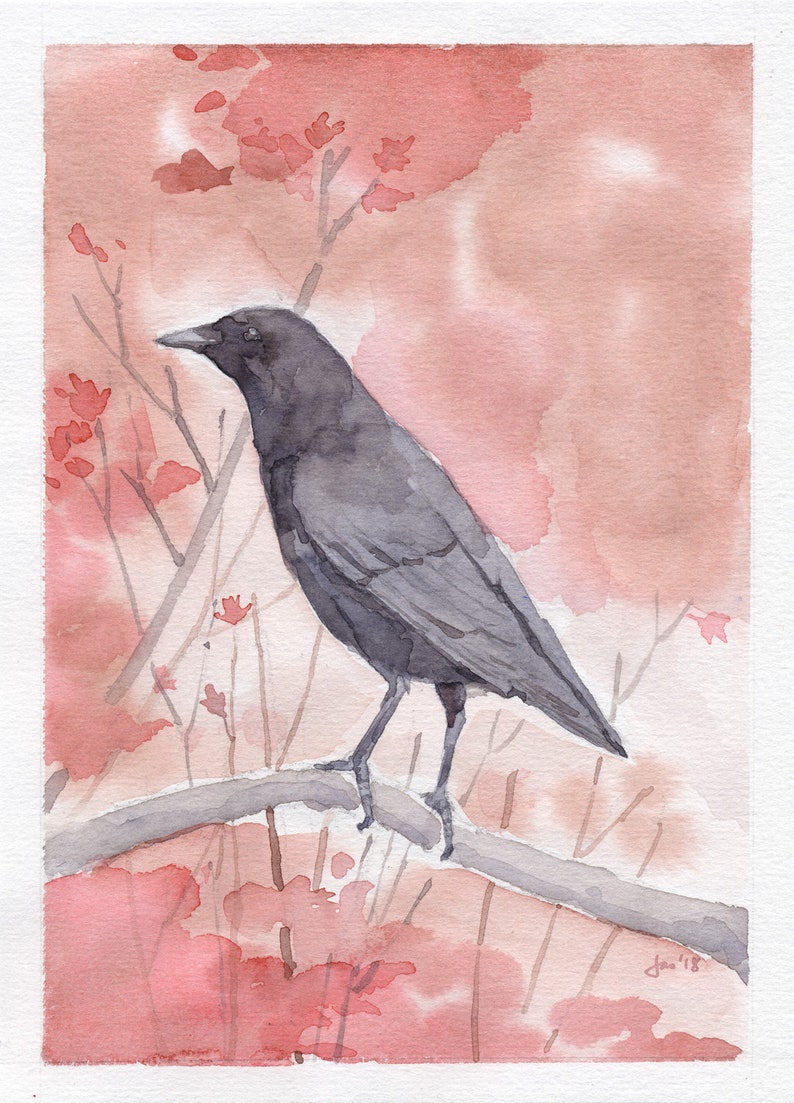ORIGINAL American Crow in October  Watercolor Painting image 0
