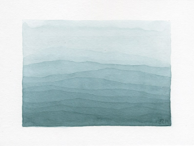 ORIGINAL Phthalo Hills  Petite Watercolor Painting image 0