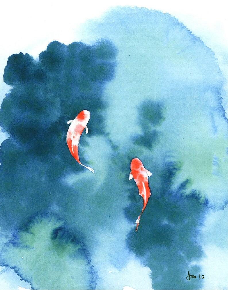 Koi Pond  Watercolor 8x10 Print image 0