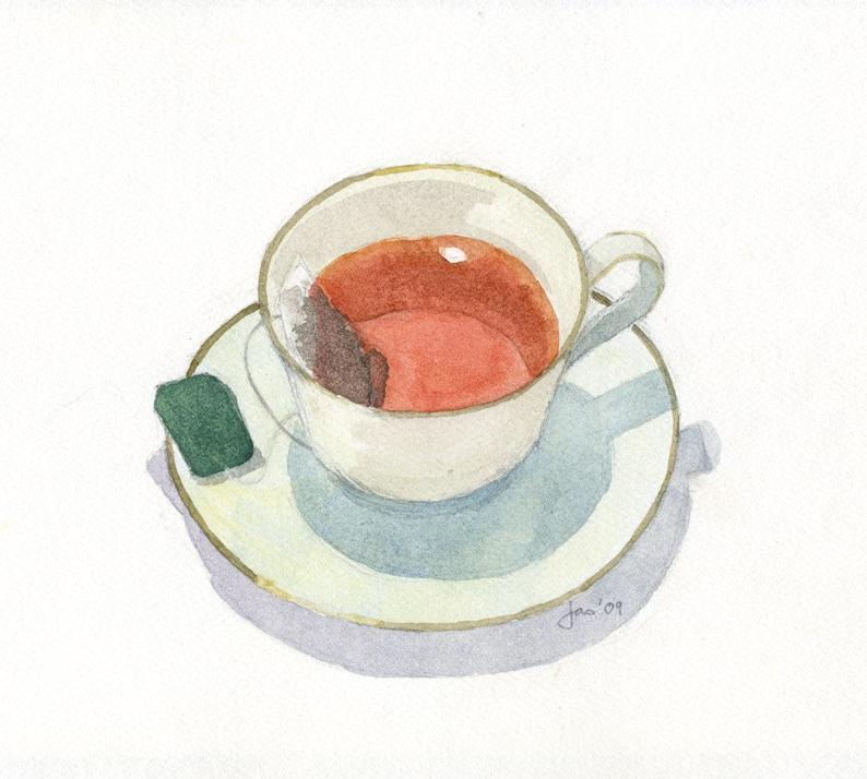 ORIGINAL Assam Black Tea  Watercolor Painting image 0