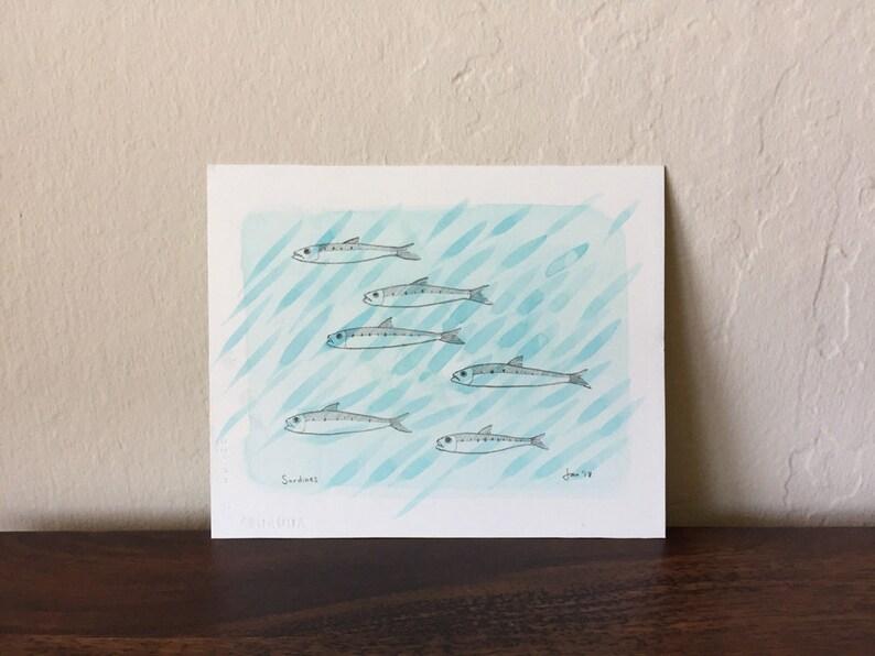ORIGINAL Sardines  Watercolor with Pencil image 0
