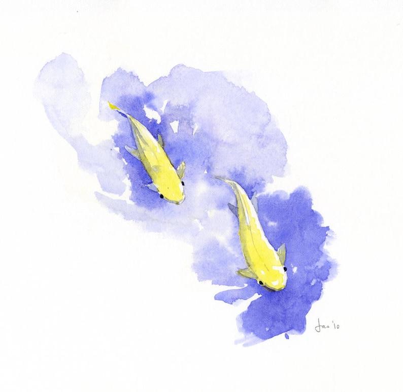 ORIGINAL Two Koi  Watercolor Painting image 0