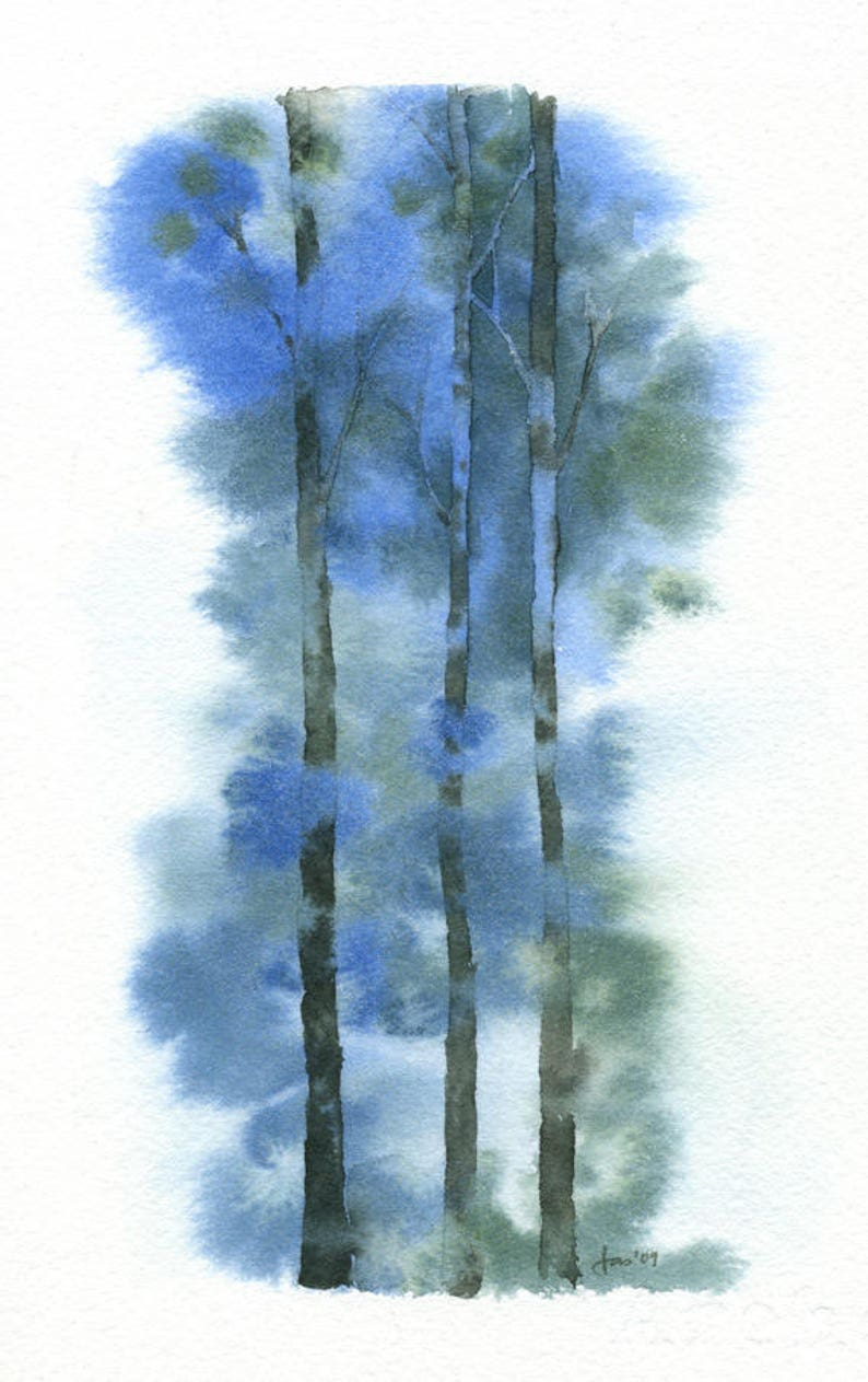 ORIGINAL Blue Forest  Watercolor Painting image 0