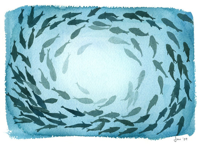 School of Fish  Watercolor 10x8 Print image 0