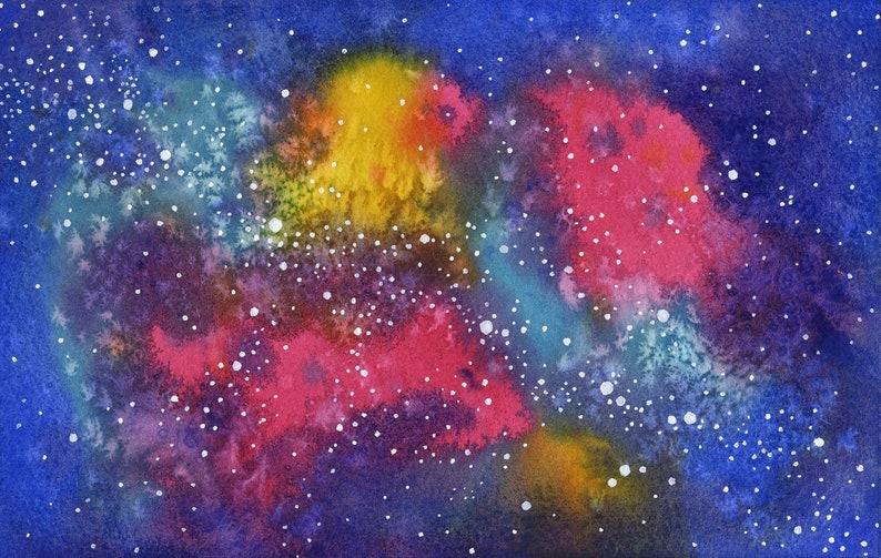 ORIGINAL Nebula  Watercolor Painting image 0