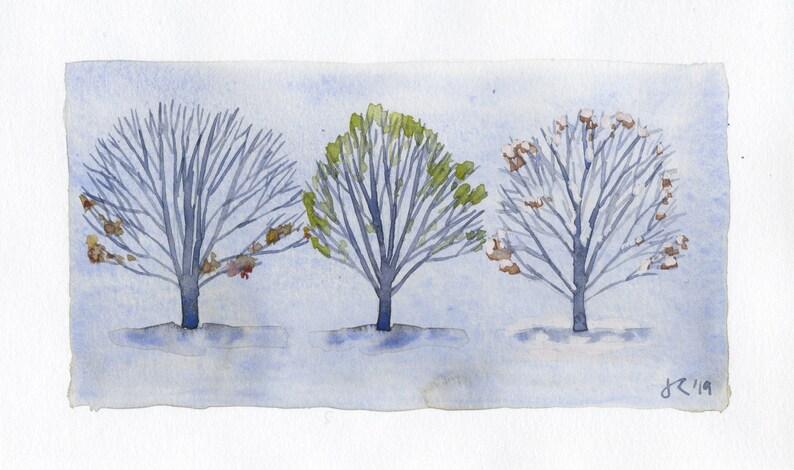 ORIGINAL Trio of Trees  Watercolor Painting image 0