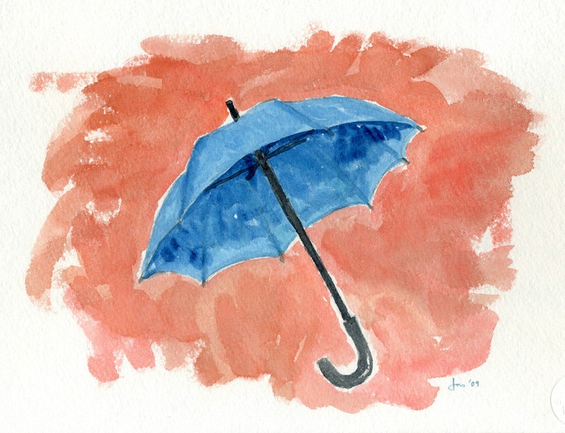 ORIGINAL Blue Umbrella  Watercolor Painting image 0