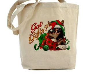 Christmas Tote Bag - Cotton Canvas Tote - Holiday Gift Bag - Cat Tote