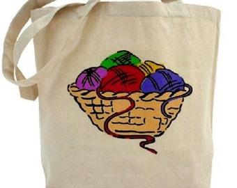 Knitting Bag - Cotton Canvas Tote Bag - Craft Bag