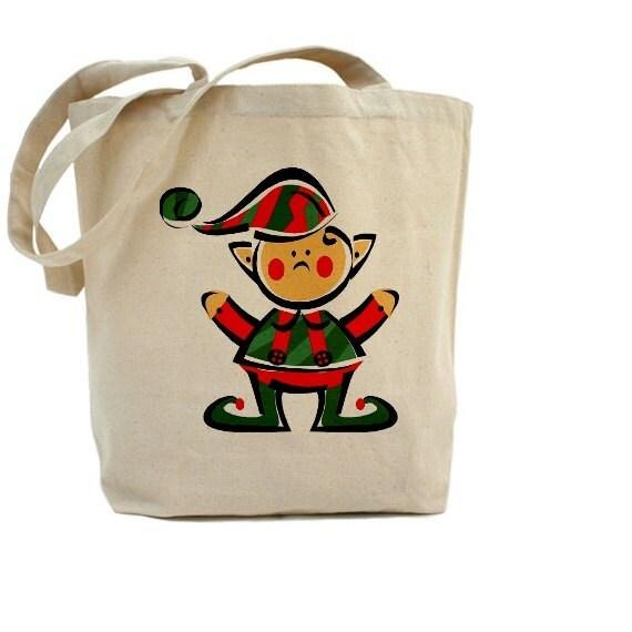 Elf Christmas Gift Bags.Elf Christmas Tote Bag Gift Bags Cotton Canvas Tote Bag