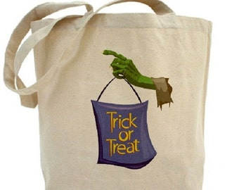 Trick or Treat Bag - Cotton Canvas Tote Bag - HALLOWEEN