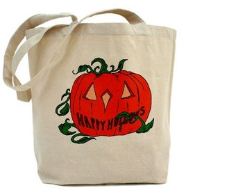 Pumpkin - Halloween Tote - Cotton Canvas Tote Bag - Trick or Treat Bag