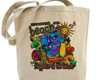 Beach Tote Bag - Cotton Canvas Tote Bag - Summer - Beach Bag