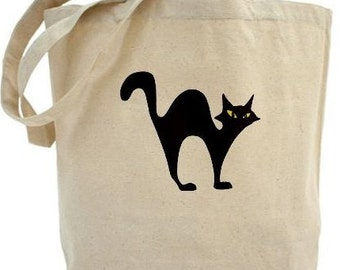 Cat -  Halloween Bags - Tote Bags - Cotton Canvas Tote Bags
