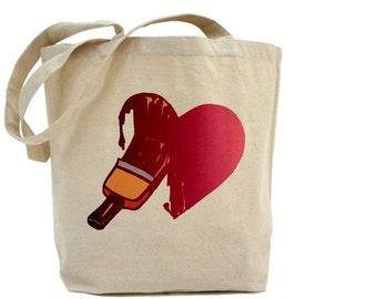 Heart Tote - Cotton Canvas Tote Bag
