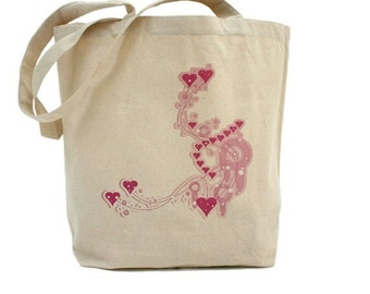 Pink Hearts Tote - Cotton Canvas Tote Bag - Valentines Day Tote