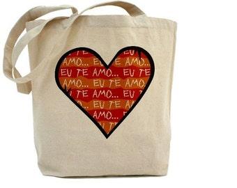 Te Amo - Cotton Canvas Tote Bag - Valentines Day - Heart